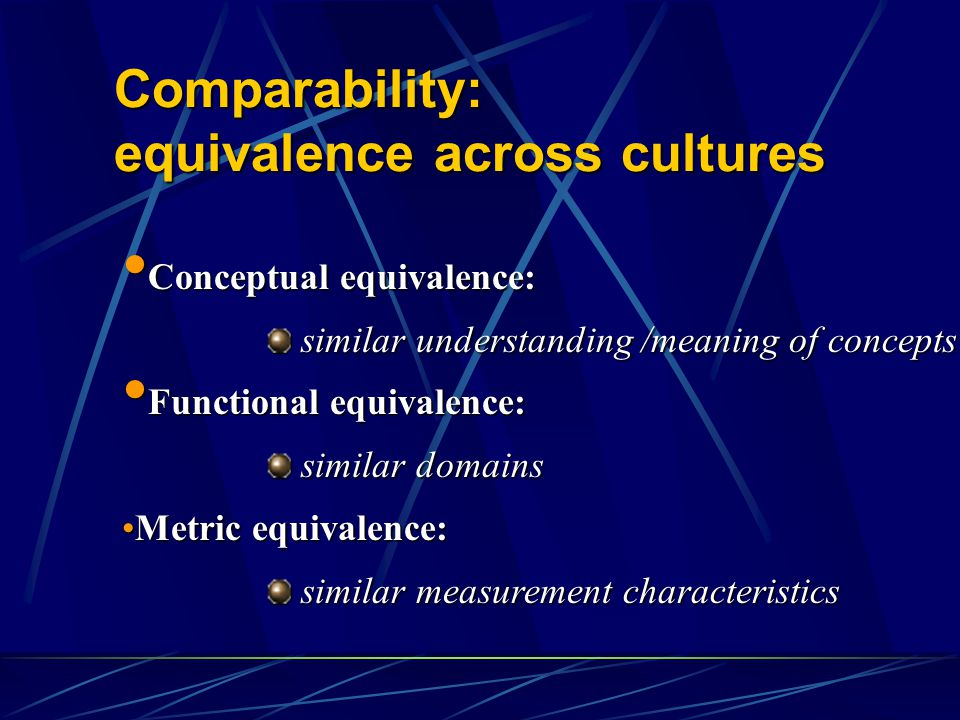 Comparability: equivalence across cultures