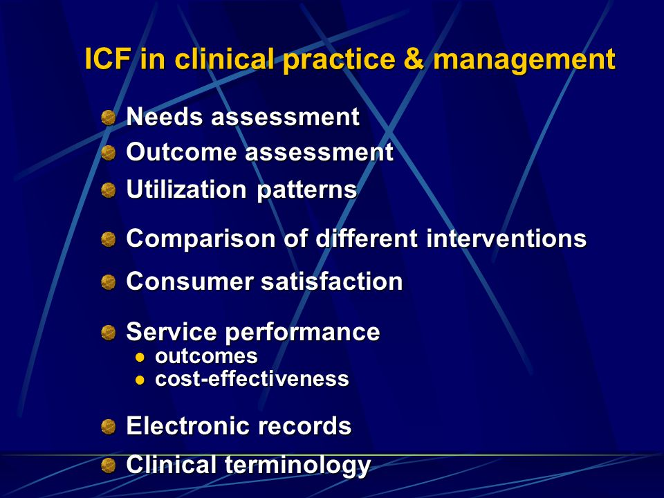 ICF in clinical practice & management