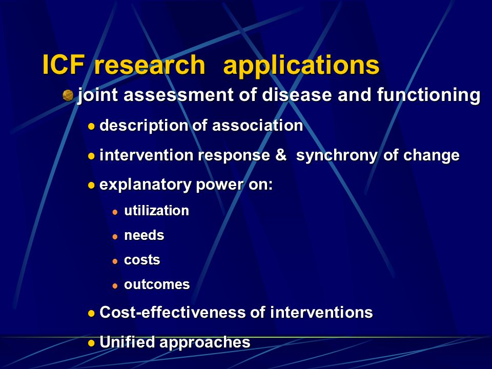 ICF research applications