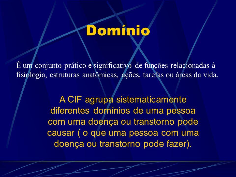 Domínio É um conjunto prático e significativo de funções relacionadas à fisiologia, estruturas anatômicas, ações, tarefas ou áreas da vida.