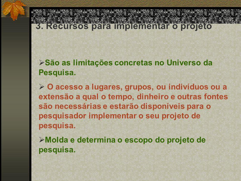 3. Recursos para implementar o projeto