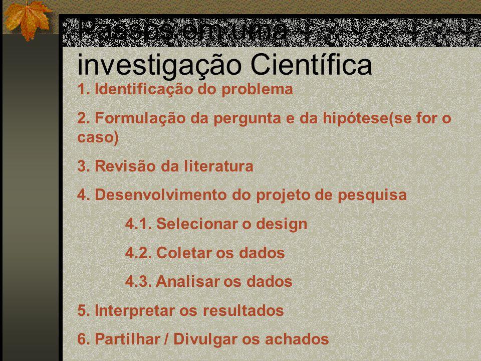 Passos em uma investigação Científica