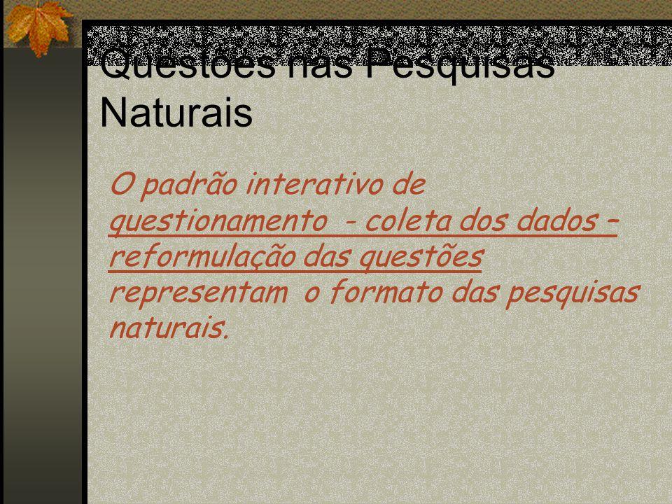 Questões nas Pesquisas Naturais