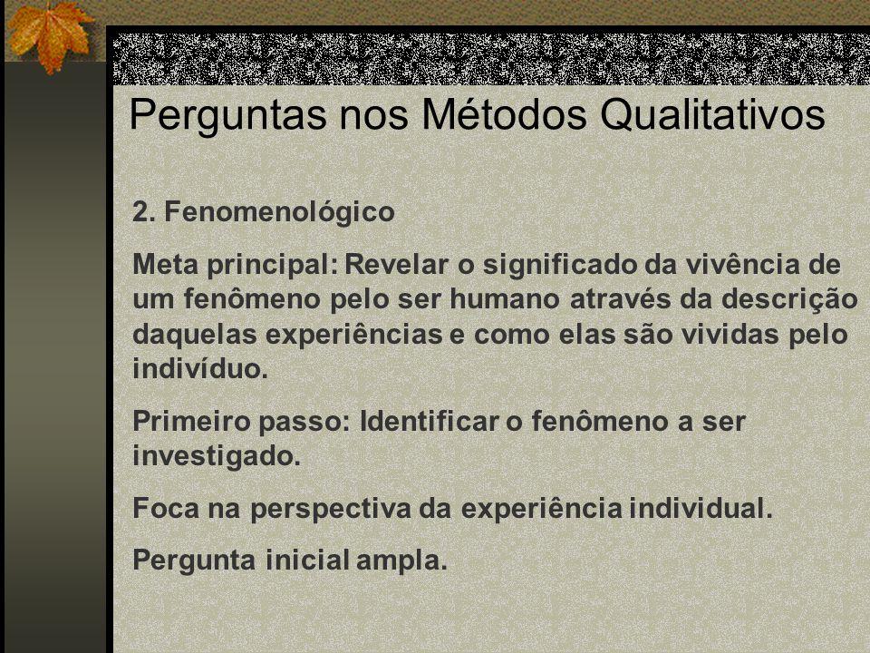 Perguntas nos Métodos Qualitativos