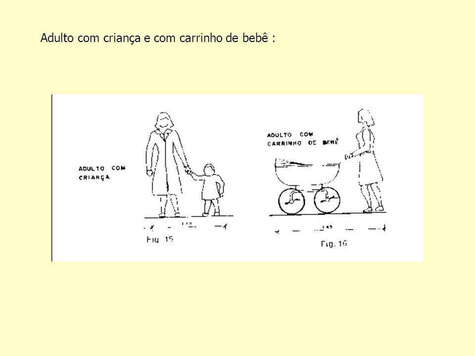 Adulto com criança e com carrinho de bebê :