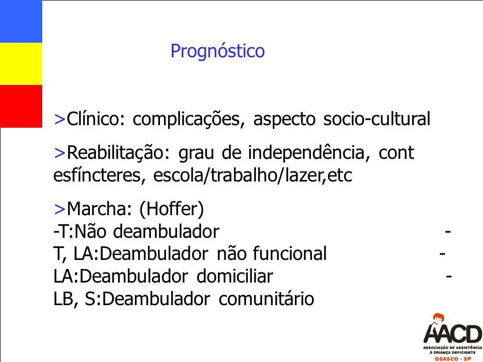 Prognóstico Clínico: complicações, aspecto socio-cultural. Reabilitação: grau de independência, cont esfíncteres, escola/trabalho/lazer,etc.
