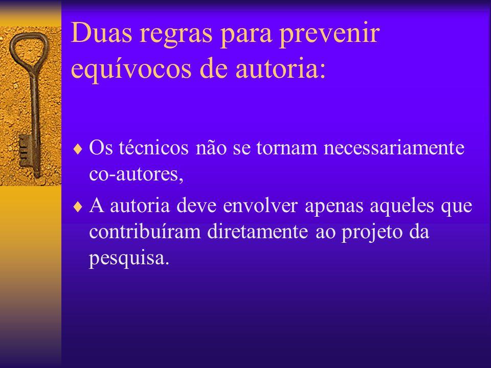 Duas regras para prevenir equívocos de autoria: