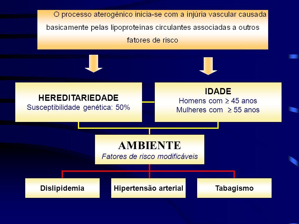 AMBIENTE IDADE HEREDITARIEDADE Susceptibilidade genética: 50%