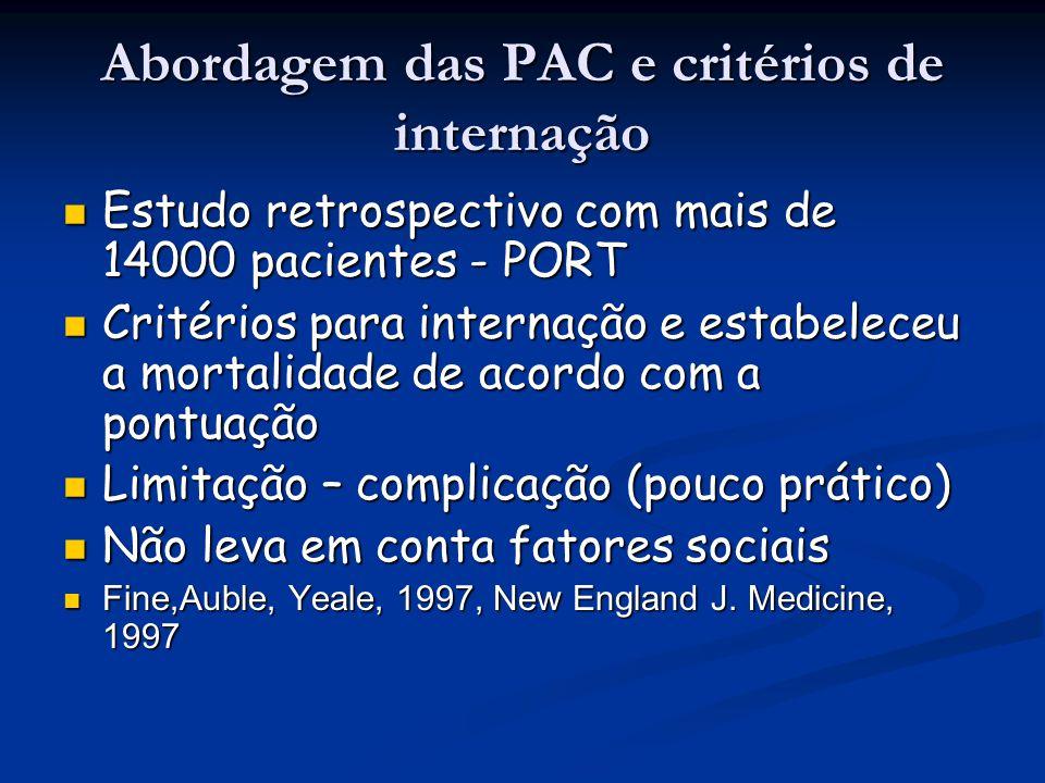 Abordagem das PAC e critérios de internação