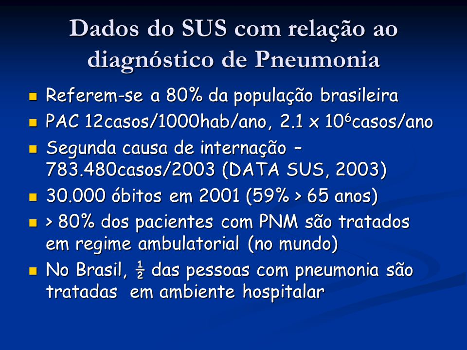 Dados do SUS com relação ao diagnóstico de Pneumonia