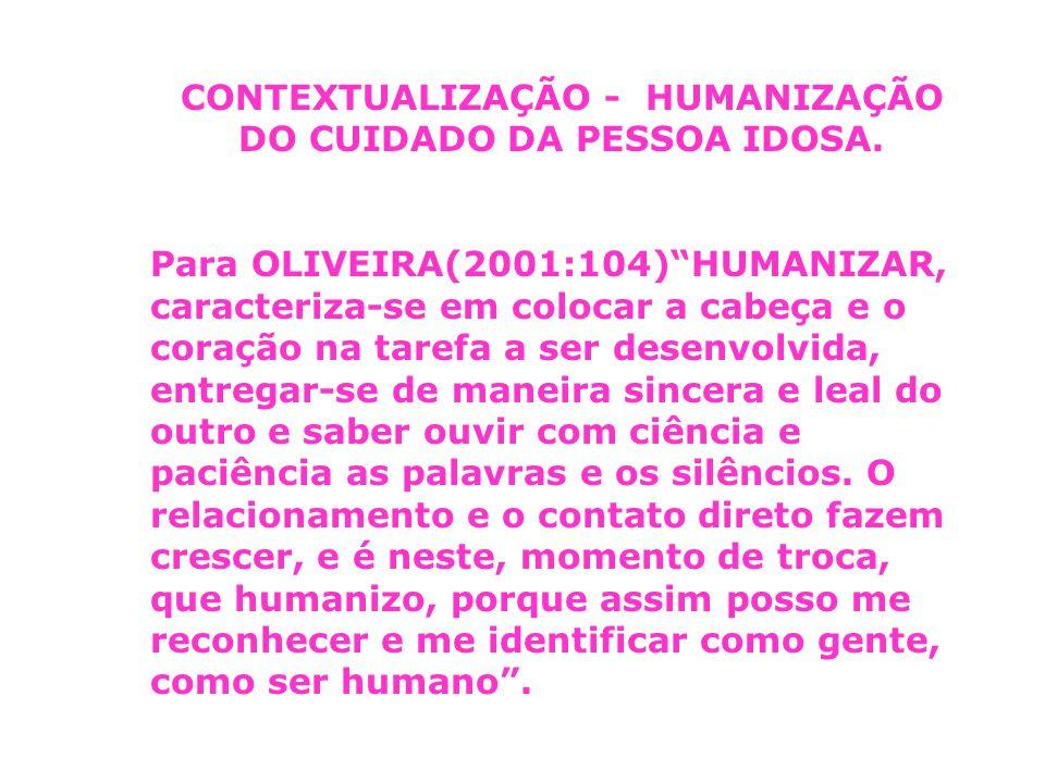 CONTEXTUALIZAÇÃO - HUMANIZAÇÃO DO CUIDADO DA PESSOA IDOSA.