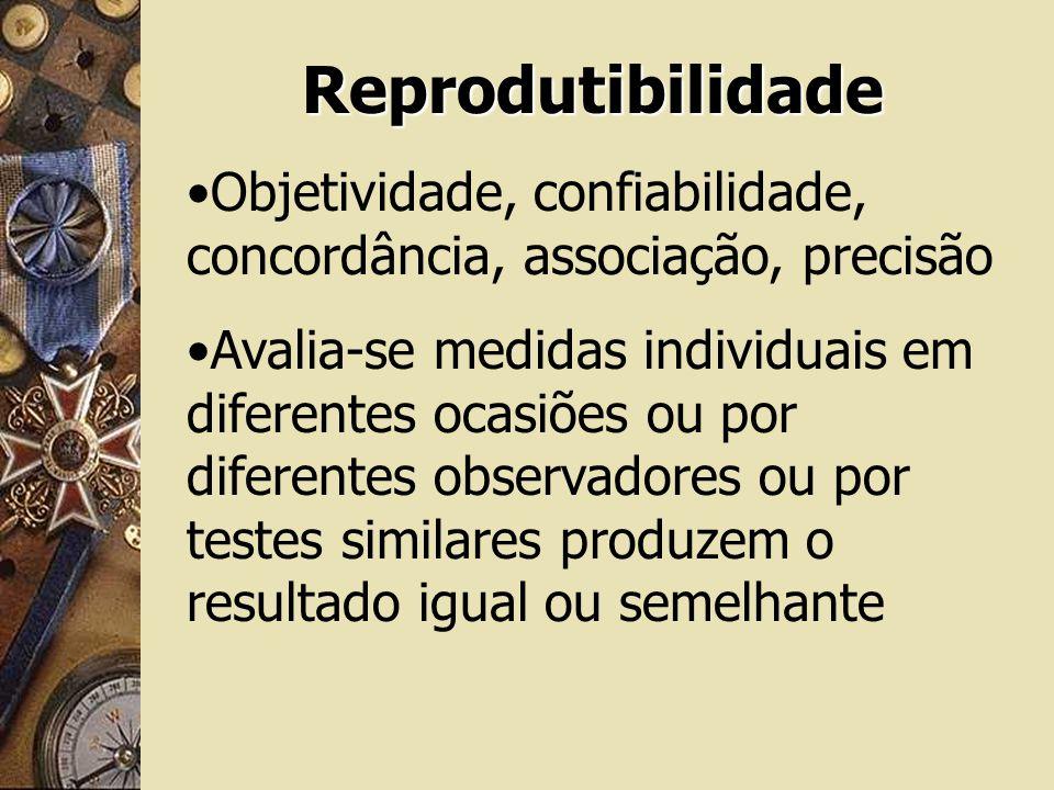 Reprodutibilidade Objetividade, confiabilidade, concordância, associação, precisão.