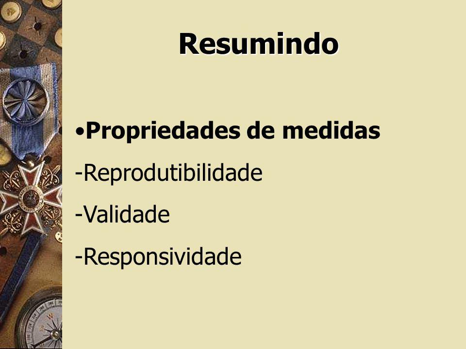 Resumindo Propriedades de medidas Reprodutibilidade Validade