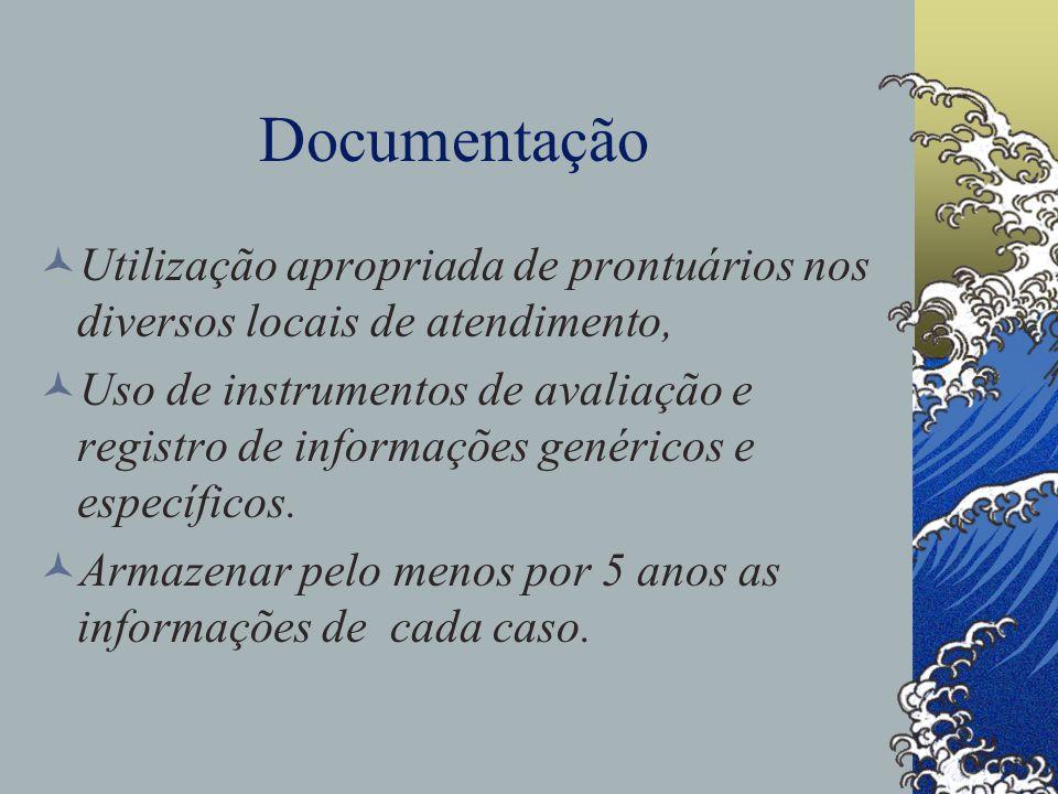 Documentação Utilização apropriada de prontuários nos diversos locais de atendimento,