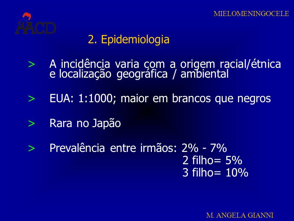 2. Epidemiologia A incidência varia com a origem racial/étnica e localização geográfica / ambiental.
