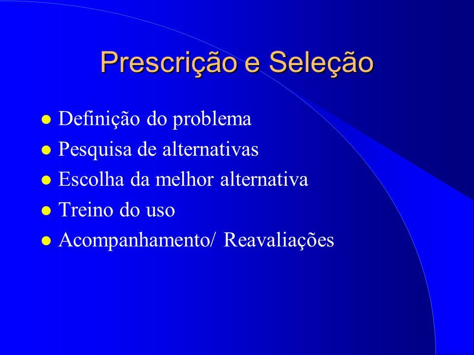 Prescrição e Seleção Definição do problema Pesquisa de alternativas