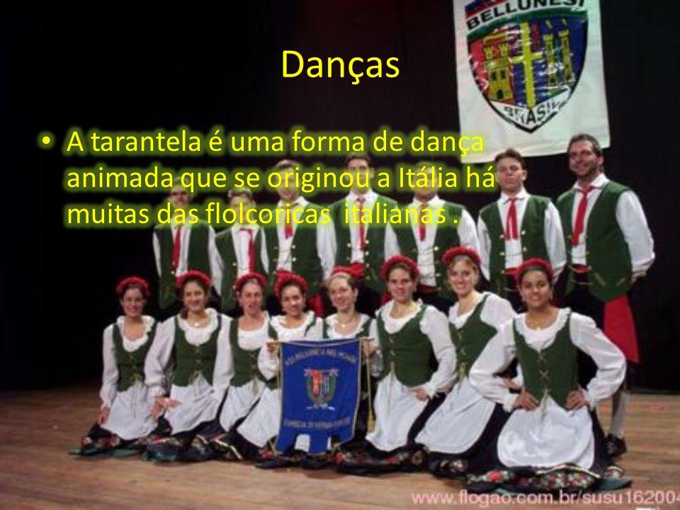 Danças A tarantela é uma forma de dança animada que se originou a Itália há muitas das flolcoricas italianas .