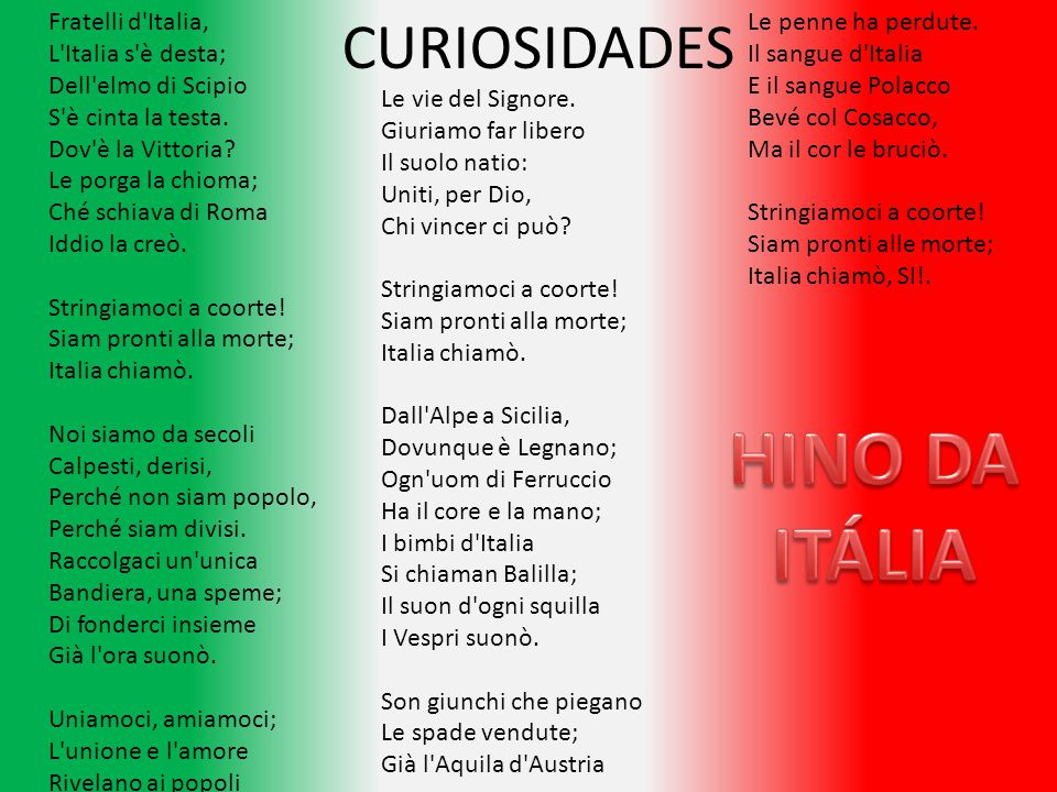HINO DA ITÁLIA CURIOSIDADES Fratelli d Italia, L Italia s è desta;