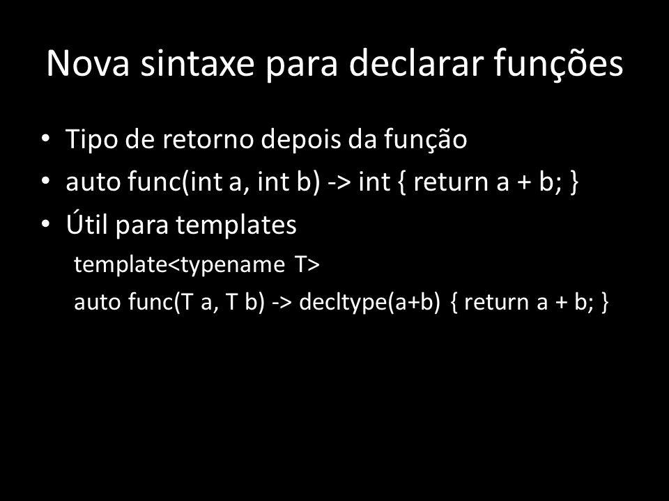 Nova sintaxe para declarar funções