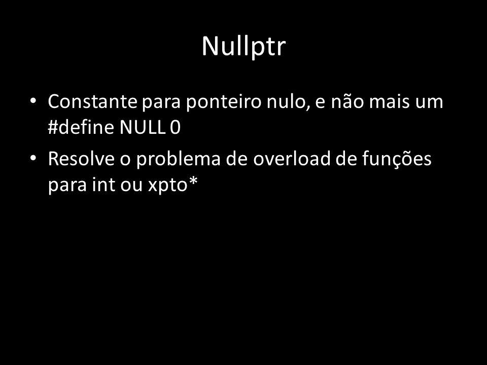 Nullptr Constante para ponteiro nulo, e não mais um #define NULL 0