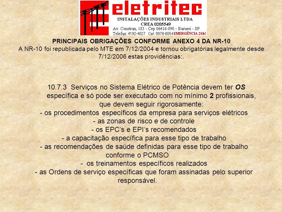 - os procedimentos específicos da empresa para serviços elétricos