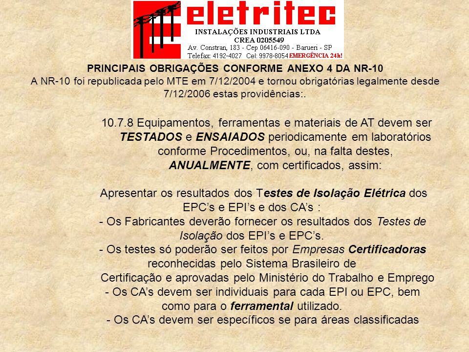 Certificação e aprovadas pelo Ministério do Trabalho e Emprego