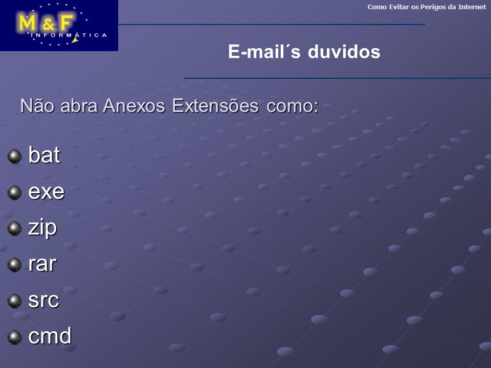 Não abra Anexos Extensões como: