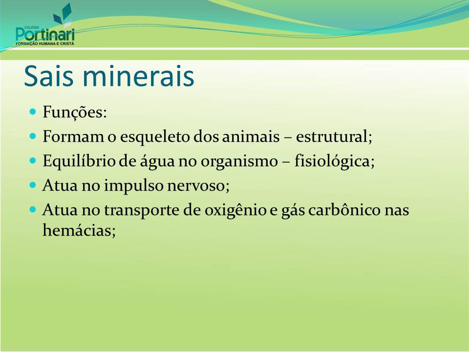 Sais minerais Funções: Formam o esqueleto dos animais – estrutural;