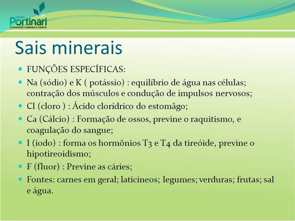 Sais minerais FUNÇÕES ESPECÍFICAS: