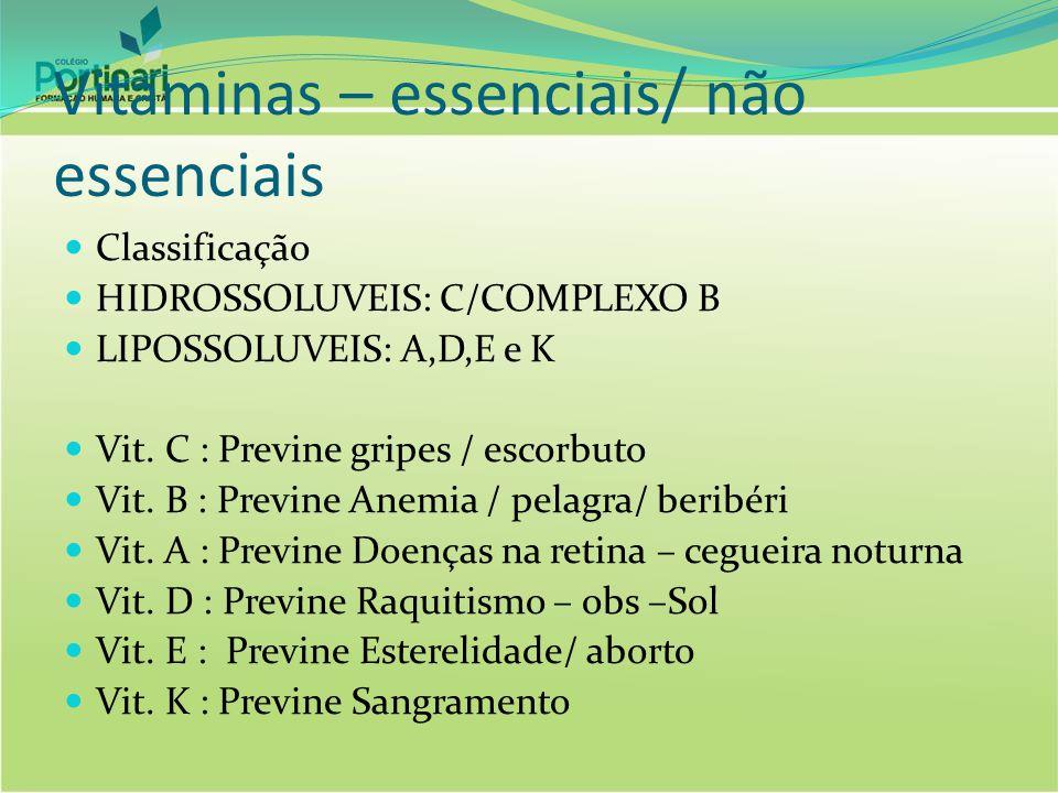 Vitaminas – essenciais/ não essenciais