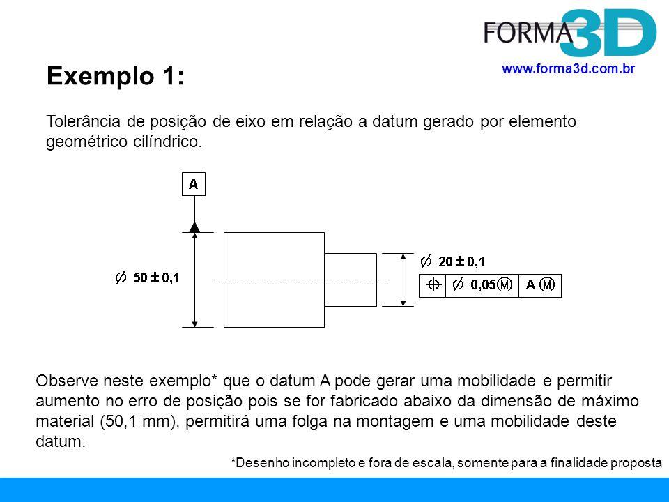 Exemplo 1: Tolerância de posição de eixo em relação a datum gerado por elemento geométrico cilíndrico.