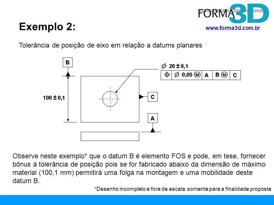 Exemplo 2: Tolerância de posição de eixo em relação a datums planares