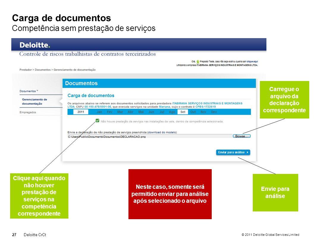 Carga de documentos Competência sem prestação de serviços