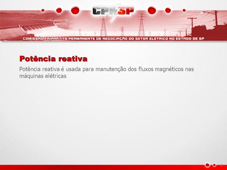 Potência reativa Potência reativa é usada para manutenção dos fluxos magnéticos nas máquinas elétricas.
