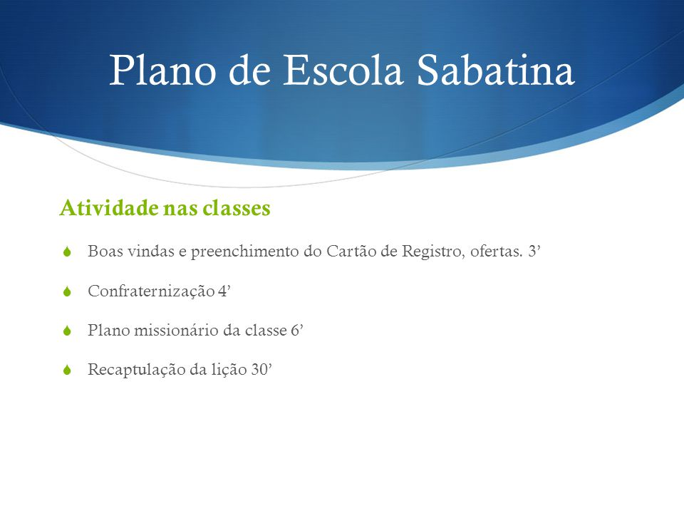 Plano de Escola Sabatina