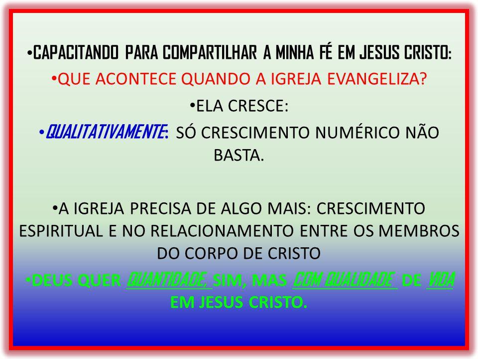 CAPACITANDO PARA COMPARTILHAR A MINHA FÉ EM JESUS CRISTO: