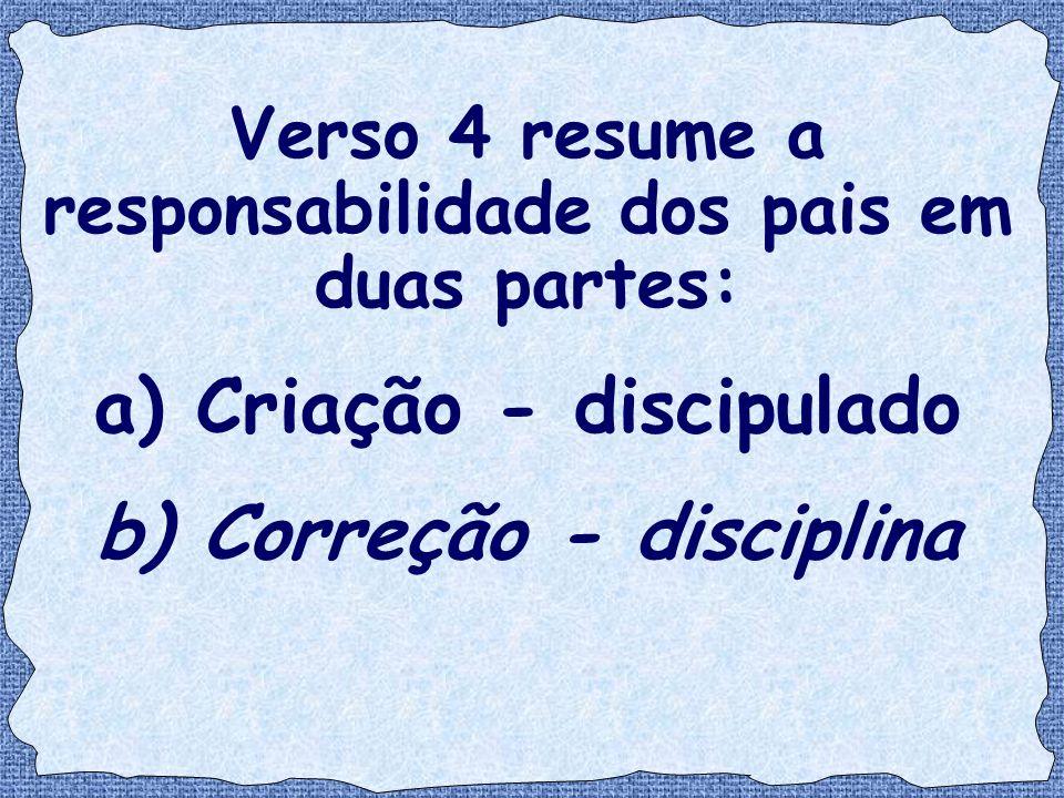 a) Criação - discipulado b) Correção - disciplina