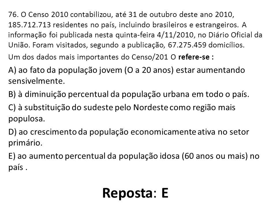 76. O Censo 2010 contabilizou, até 31 de outubro deste ano 2010, 185