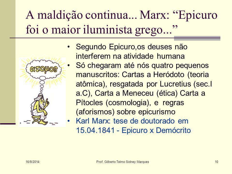 A maldição continua... Marx: Epicuro foi o maior iluminista grego...