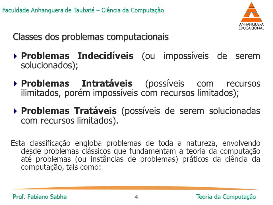 Classes dos problemas computacionais
