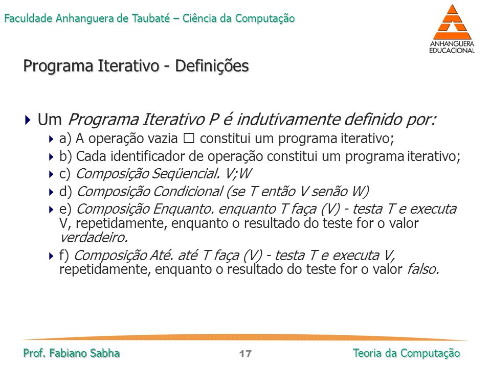 Programa Iterativo - Definições