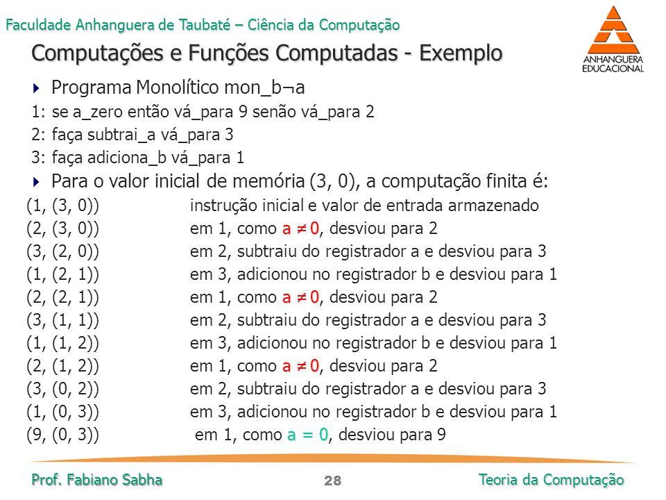 Computações e Funções Computadas - Exemplo