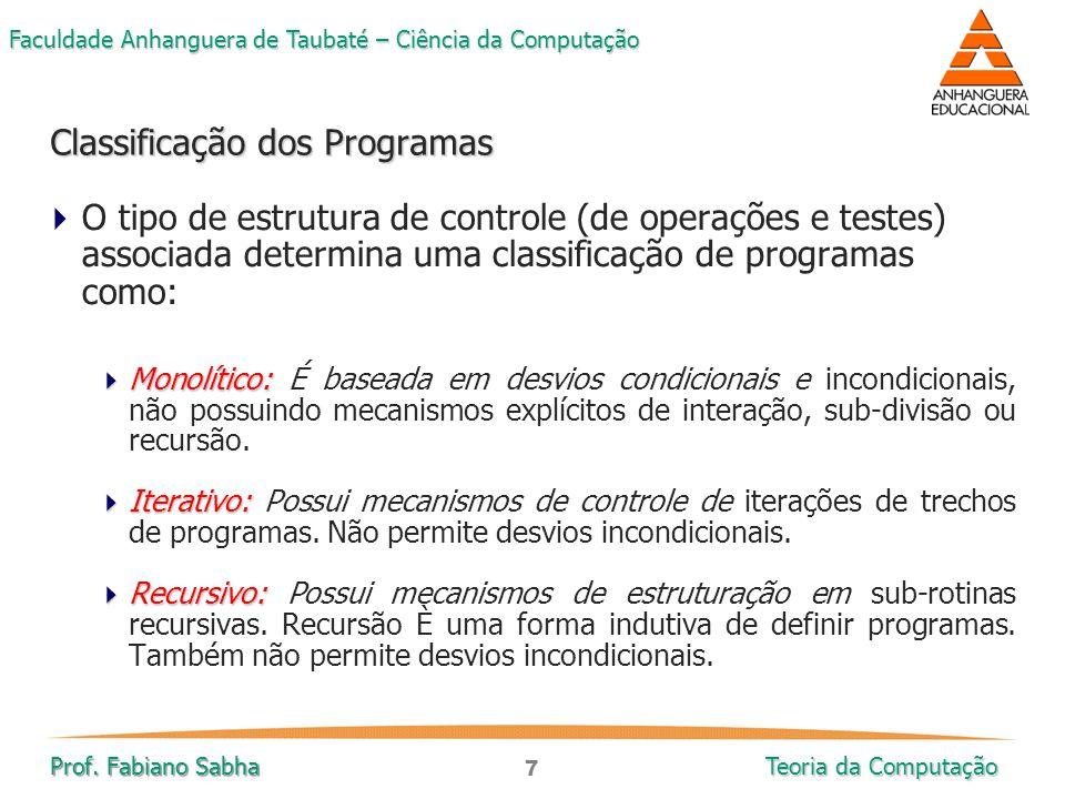 Classificação dos Programas