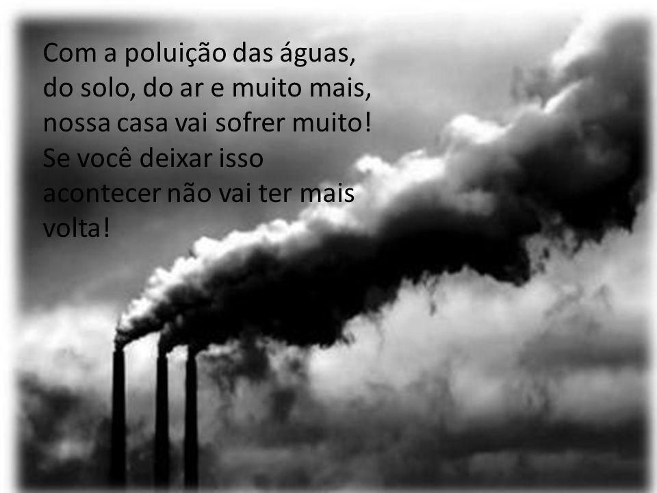 Com a poluição das águas, do solo, do ar e muito mais, nossa casa vai sofrer muito.