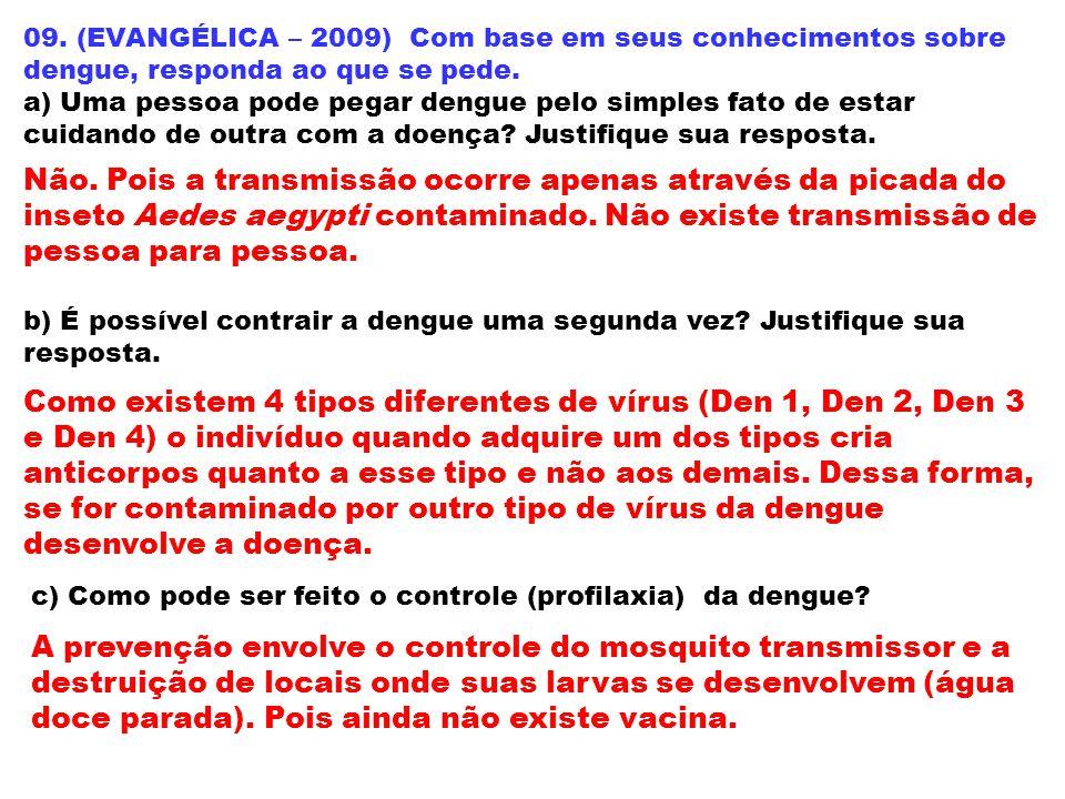 09. (EVANGÉLICA – 2009) Com base em seus conhecimentos sobre dengue, responda ao que se pede.