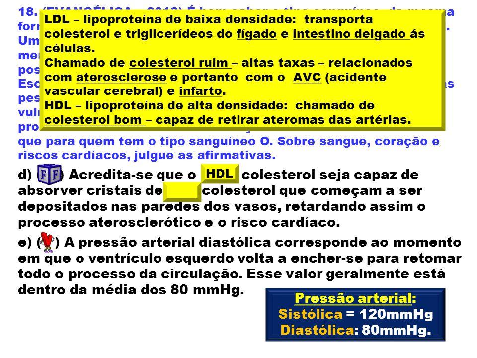 Pressão arterial: Sistólica = 120mmHg Diastólica: 80mmHg.