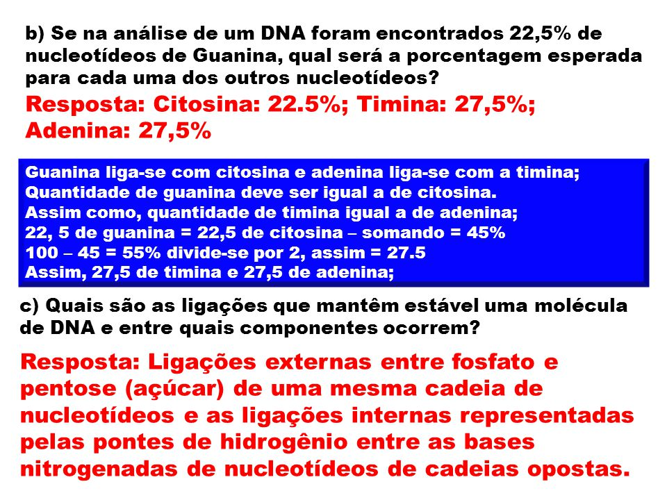 Resposta: Citosina: 22.5%; Timina: 27,5%; Adenina: 27,5%