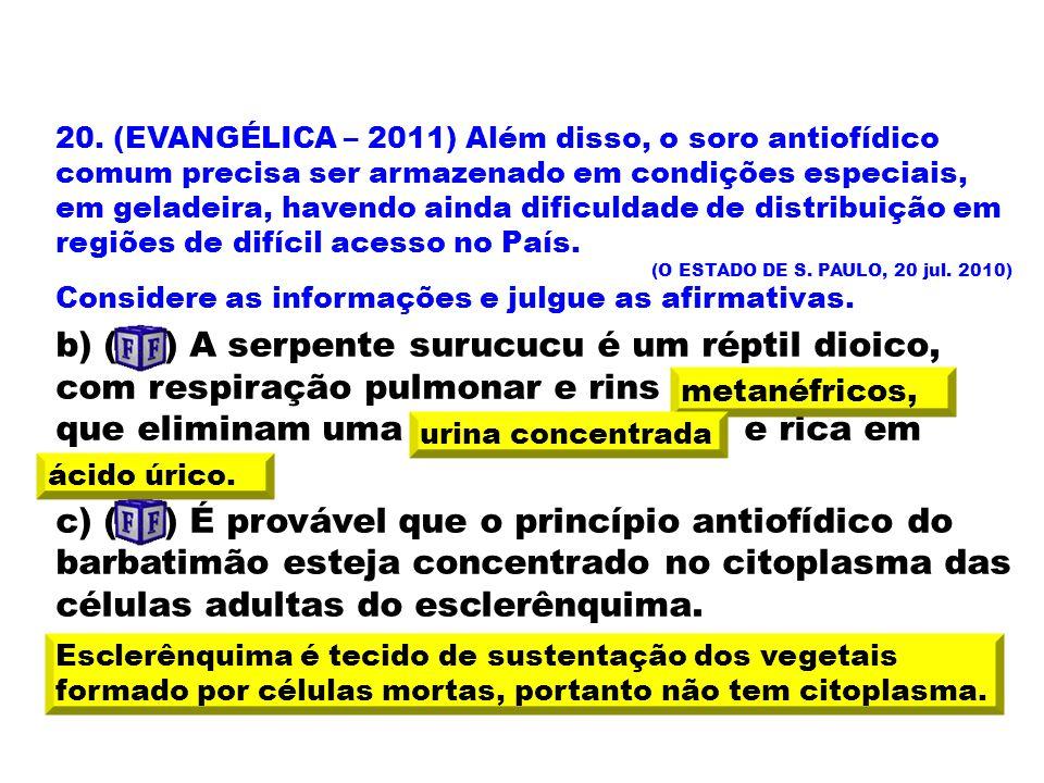 20. (EVANGÉLICA – 2011) Além disso, o soro antiofídico comum precisa ser armazenado em condições especiais, em geladeira, havendo ainda dificuldade de distribuição em regiões de difícil acesso no País.