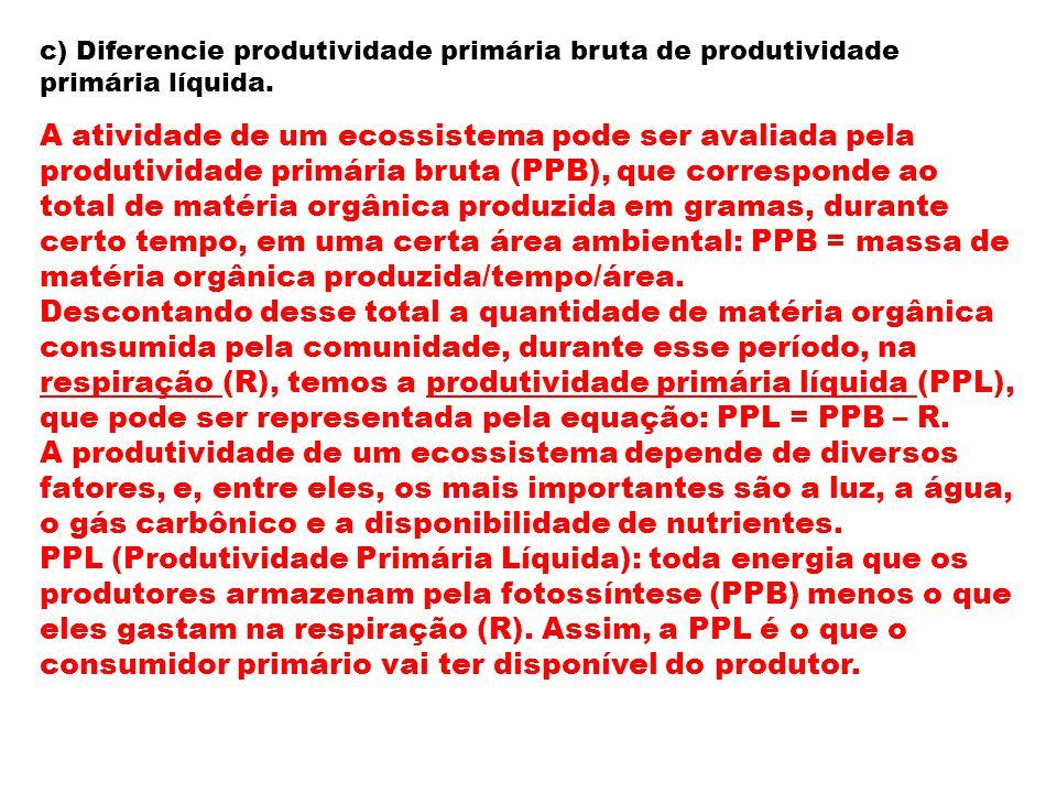 c) Diferencie produtividade primária bruta de produtividade primária líquida.