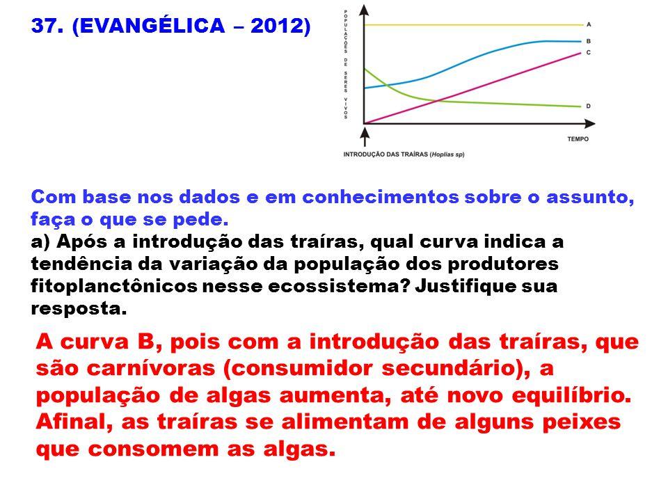 37. (EVANGÉLICA – 2012) Com base nos dados e em conhecimentos sobre o assunto, faça o que se pede.